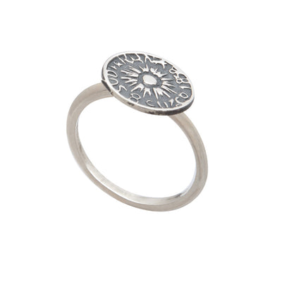 Exotic Ladies' Sterling Silver Peruvian Coin Stacking Ring