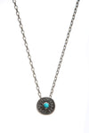 Oxidised Sterling Silver Coin Charm Pendant with turquoise