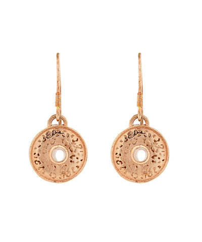 Handcrafted 18ct Rose Gold vermeil Jaguar pattern drop earrings with Rose Quartz