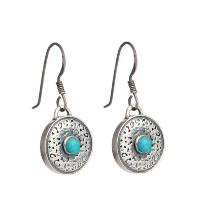 Handcrafted Sterling Silver Jaguar pattern drop earrings with Turquoise