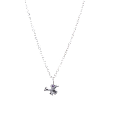 Sterling Silver Bird Amethyst. Blue or Yellow Sapphire Stacking Pendant Necklace