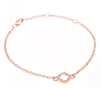 Exotic 18ct Rose Gold Vermeil on Sterling Silver  and Ruby Chakana Peruvian Cross Bracelet