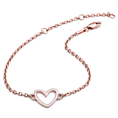 18ct Rose Gold Vermeil Silhouette Heart Bracelet