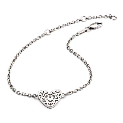 Sterling Silver Filigree Heart Bracelet