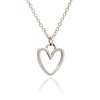 Ladies/ Girls Sterling Silver Silhouette Heart Charm Stacking Pendant Necklace