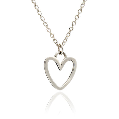 Sterling Silver Silhouette Heart Charm Stacking Pendant Necklace