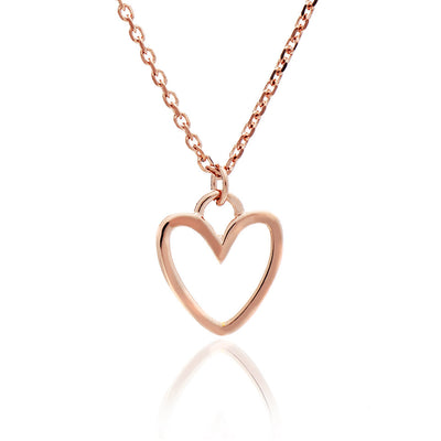 18ct Rose Gold Vermeil Silhouette Heart Charm  Stacking Pendant
