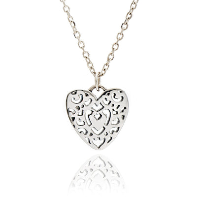 Sterling Silver Filigree Heart  Charm Stacking Pendant Necklace
