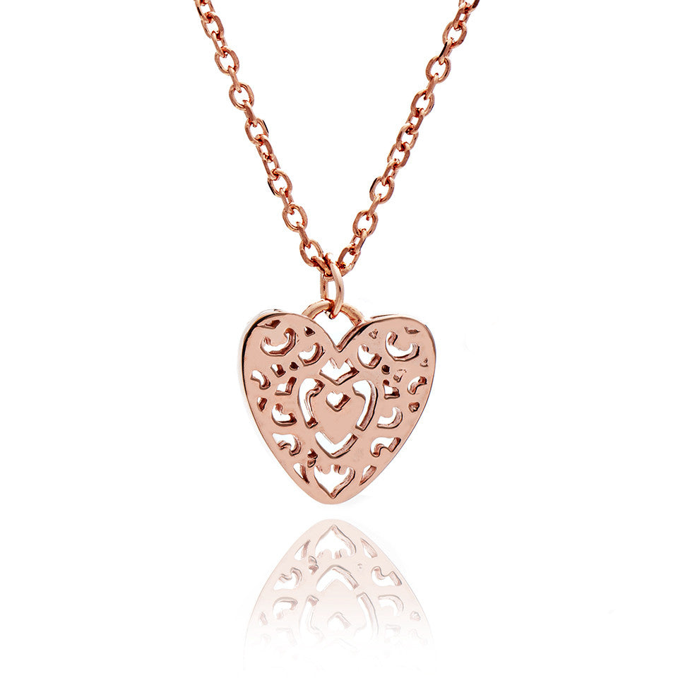 18ct Rose Gold Vermeil  Filigree Heart Charm Stacking Pendant Necklace
