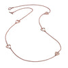 18ct Rose Gold Vermeil Five Charm Heart Stacking Necklace