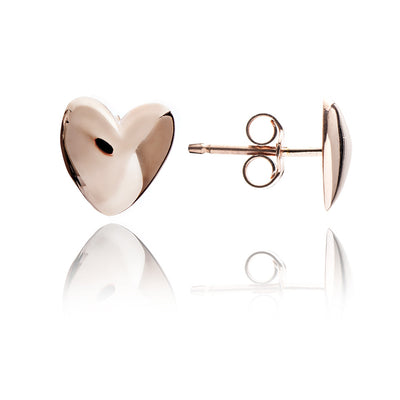 18ct Rose Gold  Vermeil Solid Heart Stud Earrings
