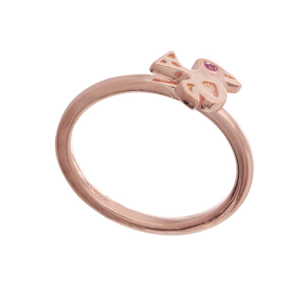 18ct Rose Gold Vermeil and Ruby Bird Stacking Ring Chavin