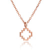 Exotic 18ct Rose Gold Vermel Peruvian Chakana Cross Silhouette Charm Pendant Necklace