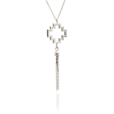 Sterling Silver Large Peruvian  Cross Charm Tassel  Necklace