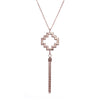Exotic 18ct Rose Gold Vermeil  Large Peruvian Chakana  Cross Charm Tassel Necklace