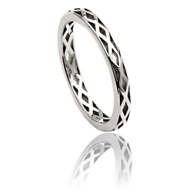 Sterling Silver Lattice Triangle Stacking Ring