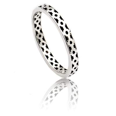 Sterling  Silver Square Lattice Stacking Ring