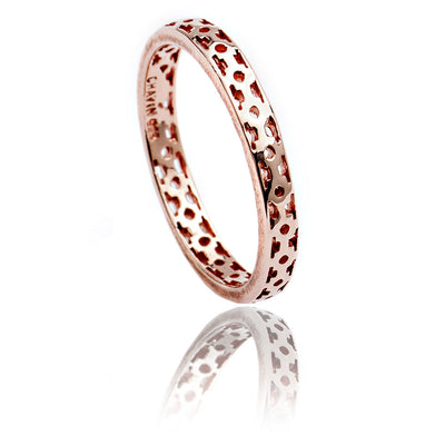 Exotic Unisex 18ct Rose Gold Vermeil Lattice Stacking Ring