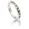 Exotic 925 Sterling Silver Square Pattern Stacking Ring