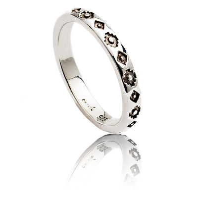 Exotic Sterling Silver Square Pattern Stacking Ring