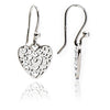 925 Sterling Silver Filigree Heart Charm Drop Earrings