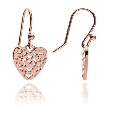 Rose Gold Filigree Heart Drop Earrings