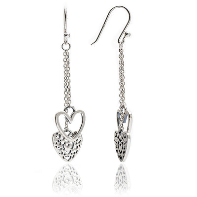 Sterling Silver Heart Charm  Dangle Earrings