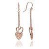 18ct Rose Gold Vermeil Heart Charm Dangle Earrings