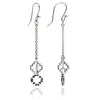 Exotic Women's Sterling Silver and Black Sapphire Peruvian Cross Dangle Earrings
