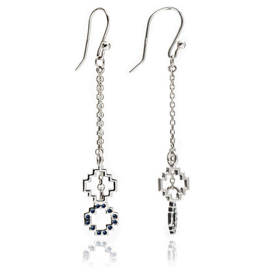 Exotic Women's Sterling Silver and Black Sapphire Peruvian Chakana  Cross Dangle Earrings