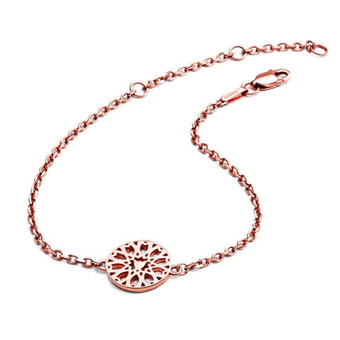 18ct Rose Gold  Vermeil Circular Jaguar Head Filigree Charm Bracelet