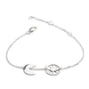 Sterling Silver Crescent Moon and Circular  Star Charm Bracelet