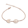 18ct Rose Gold Vermeil Crescent Moon and Circular Star Charm Bracelet