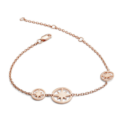 18ct Rose Gold Vermeil Three Star Circular Charm Bracelet