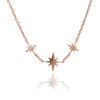 18 ct Rose Gold Vermeil  Three Star Charm Necklace