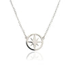 Large Sterling  Silver Circular  Star Charm Necklace