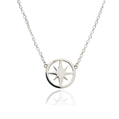 Large 925 Sterling  Silver Circle of Life  Star Charm Necklace