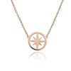 Large 18ct Rose Gold Vermeil Circular  Star Charm Necklace