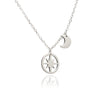 925 Sterling Silver Crescent Moon and Circle of Life Star Charm Pendant Necklace