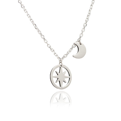 Sterling Silver Crescent Moon and Circle of Life Star Charm Pendant Necklace