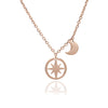 18ct Rose Gold Vermeil Circle of Life Star and Crescent Moon Charm Pendant