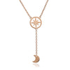18ct Rose Gold Vermeil Crescent  Moon andCircular Star Charm Pendant