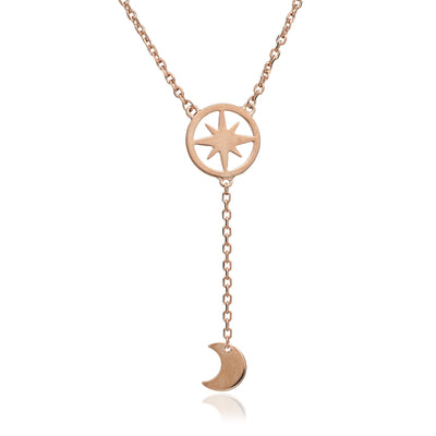 18ct Rose Gold Vermeil Crescent  Moon and Circular Star Charm Pendant
