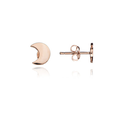 18ct Rose Gold Vermeil Crescent Moon Stud Earrings