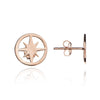 18ct Rose Gold Vermeil Circular Star  Stud Earrings