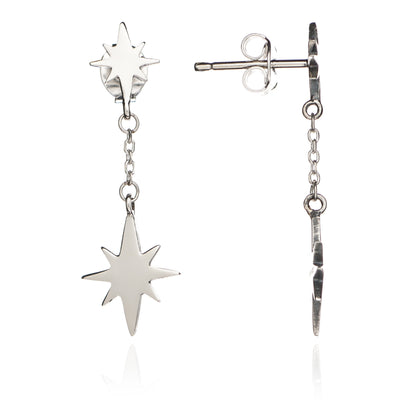Sterling Silver Double Star Charm Dangle Earrings