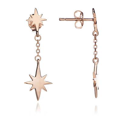18ct Rose Gold Vermeil Double Star Charm  Earrings