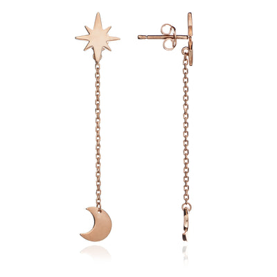18 ct. Rose Gold Vermeil Star and Moon Charm Earrings