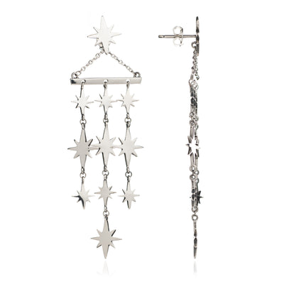 Sterling Silver Large Star Statement Earrings
