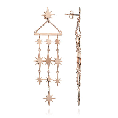 18ct Rose Gold Vermeil Starburst Chandelier Earrings